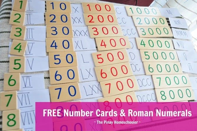 FREE Printable Number and Roman Numeral Cards - Homeschool Giveaways