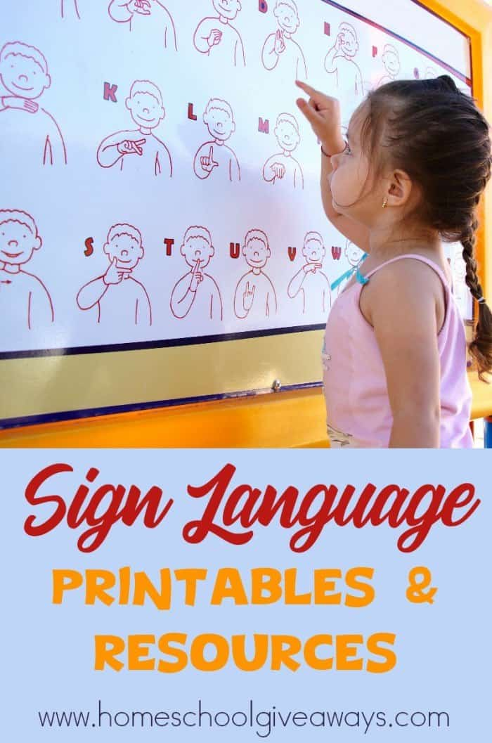 FREE Sign Language Printables and Resources - Homeschool Giveaways