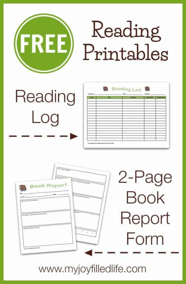 FREE Reading Log and 2-Page Book Report Form - Homeschool Giveaways