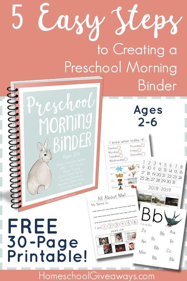 FREE Preschool Morning Work Binder Printable (30 Pages