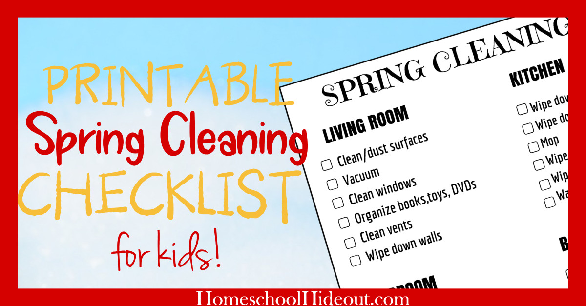 Spring Cleaning Checklist for Kids (Free Printable!) - Homeschool