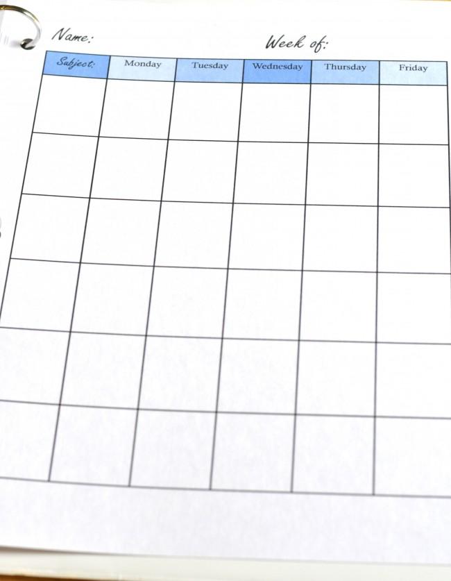 Free Printable Homeschool Planner Pages - homeschool schedule template