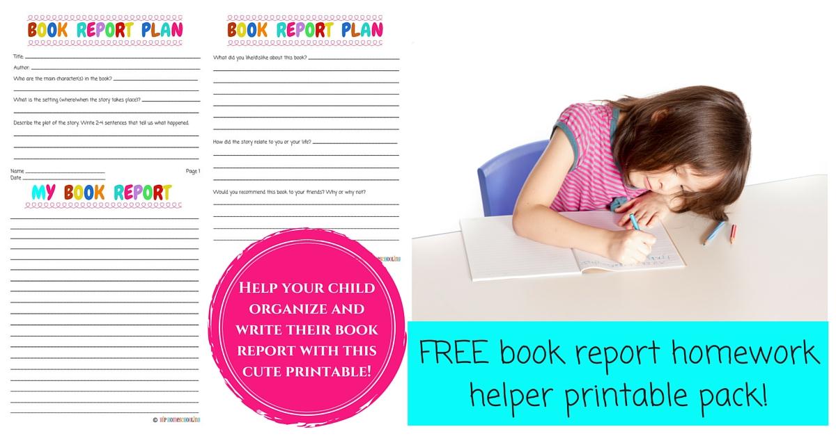 Book Report Homework Helper FREE printable! - book report printable