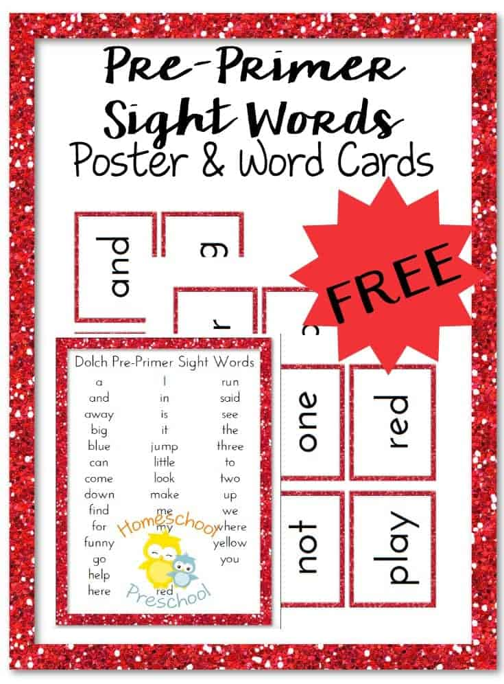 Pre-Primer Sight Words Poster and Flash Cards - Homeschool Preschool