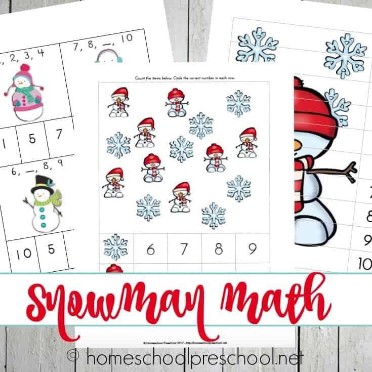 Preschool Snowman Printables, Books, and Activities