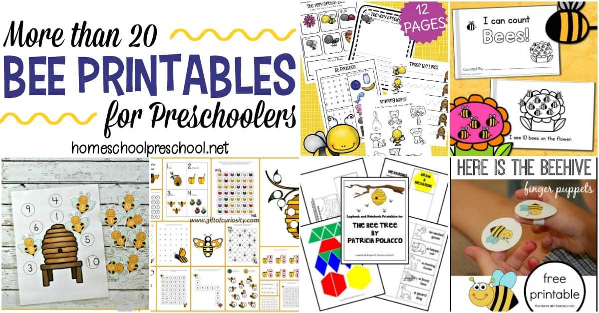 20+ Educational Preschool Bee Themed Printables