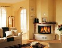 Modern corner fireplace for warm living room - HomesCorner.Com