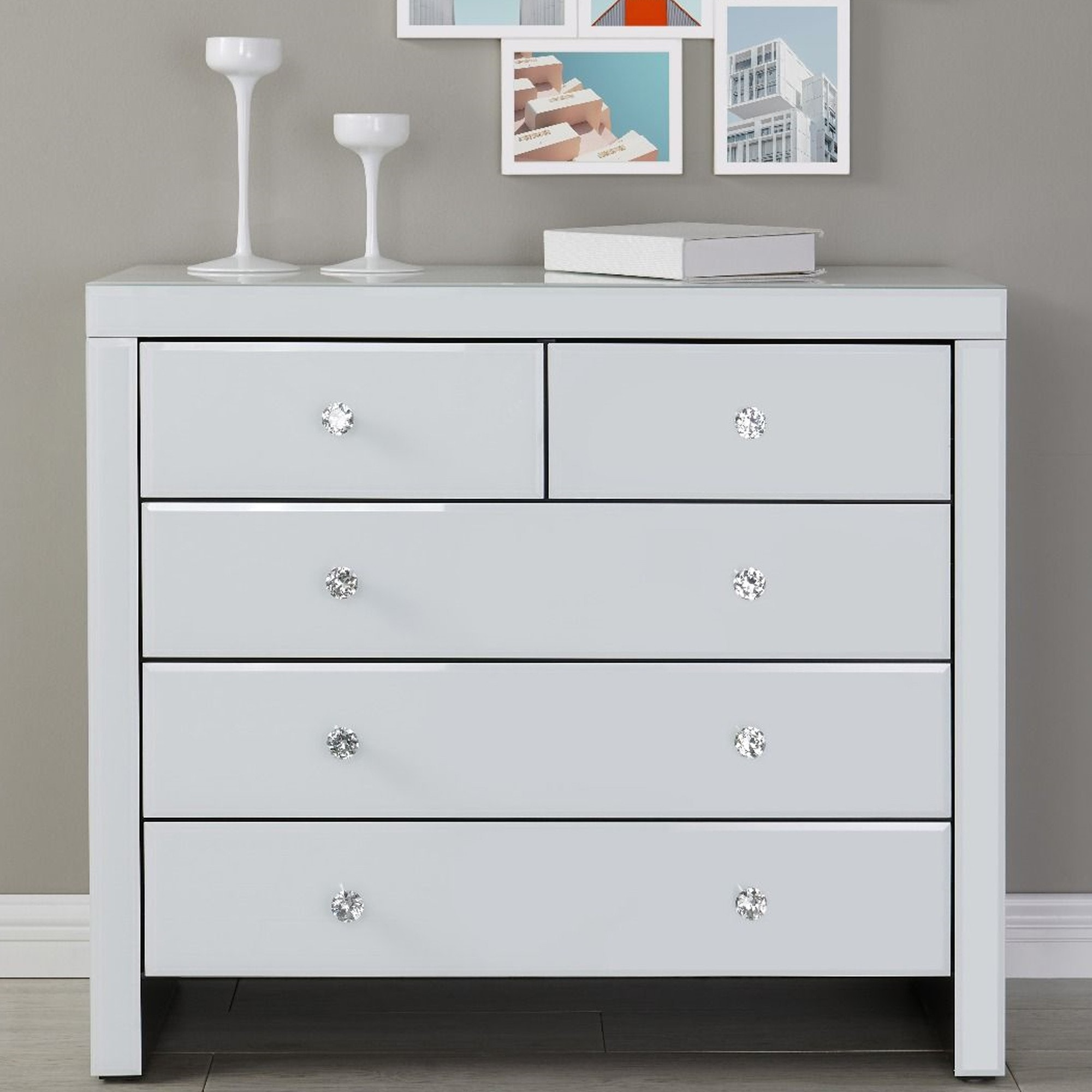 Hollywood 2 3 Chest White White Bedroom Furniture