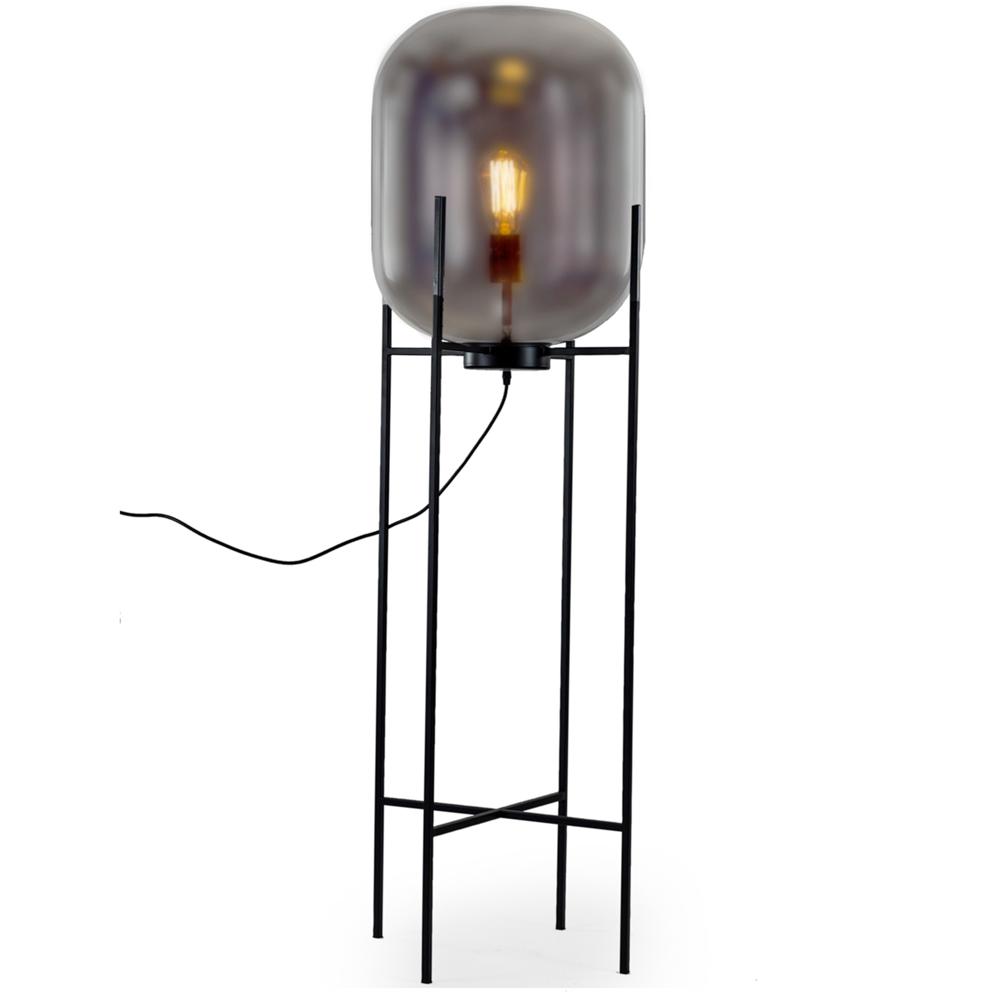 Glass Edison Lamp Large Smoked Glass Edison Floor Lamp