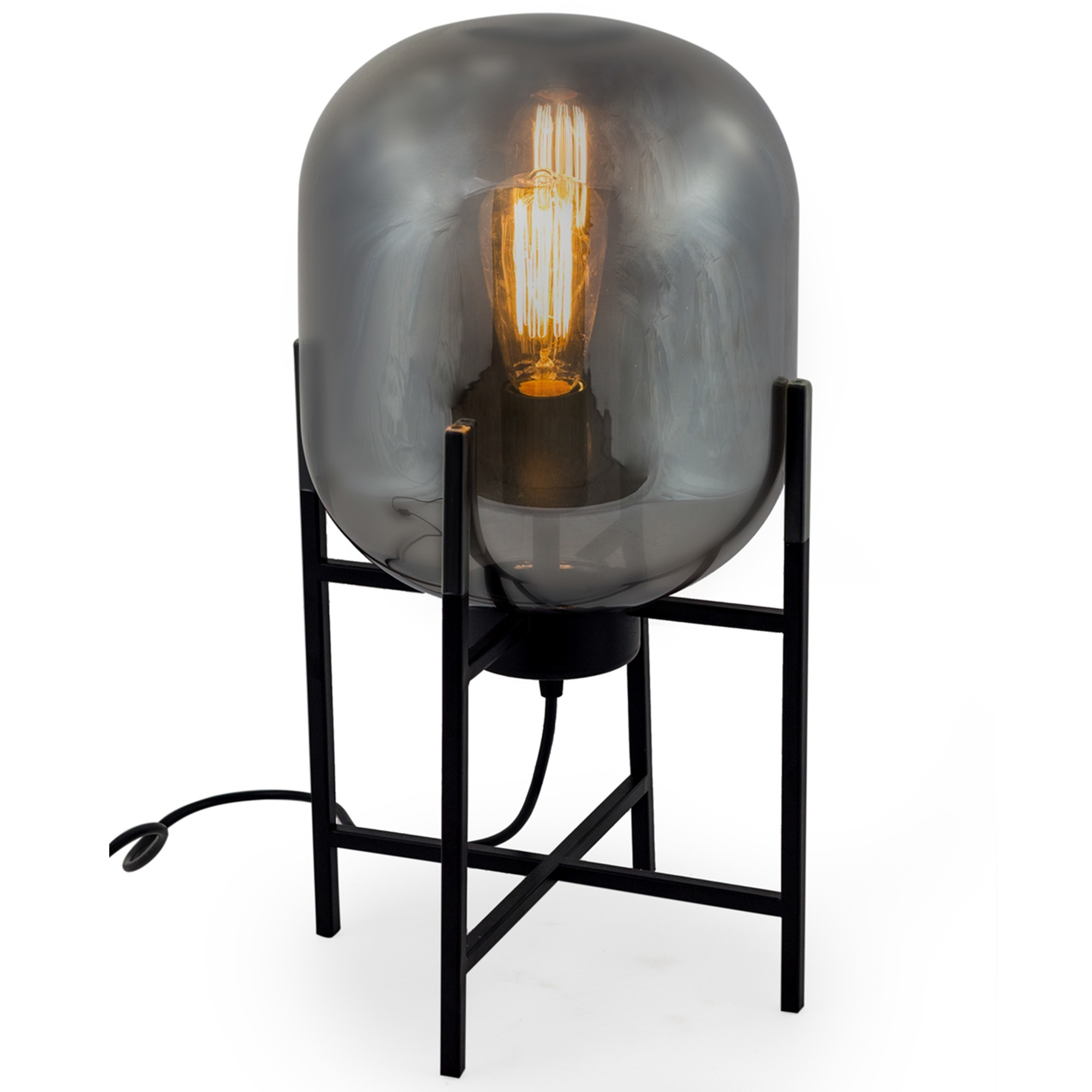 Glass Edison Lamp Large Smoked Glass Edison Table Lamp