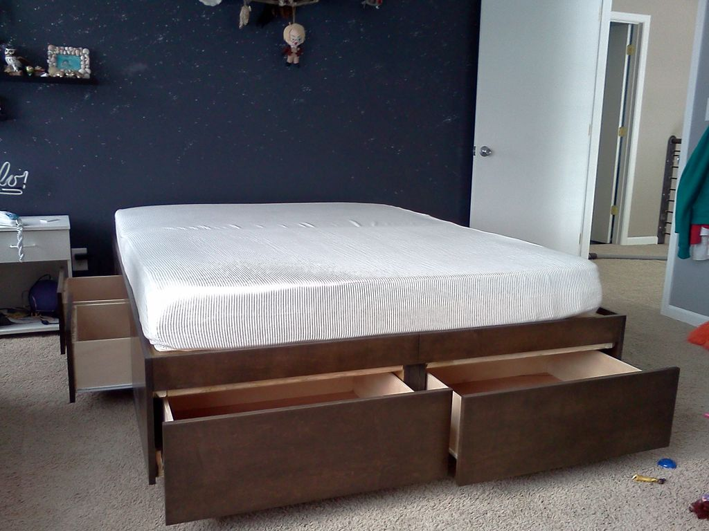 White Platform Bed Without Headboard Elevated Platform Bed Create Different Visual Interest To Your