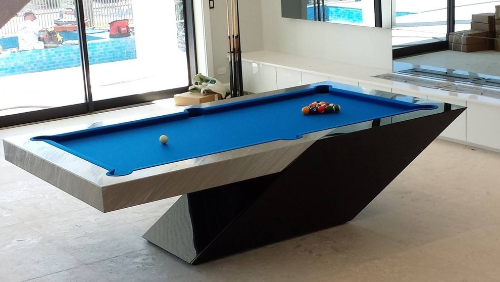 Pool table design in a private billiard room with blue top table