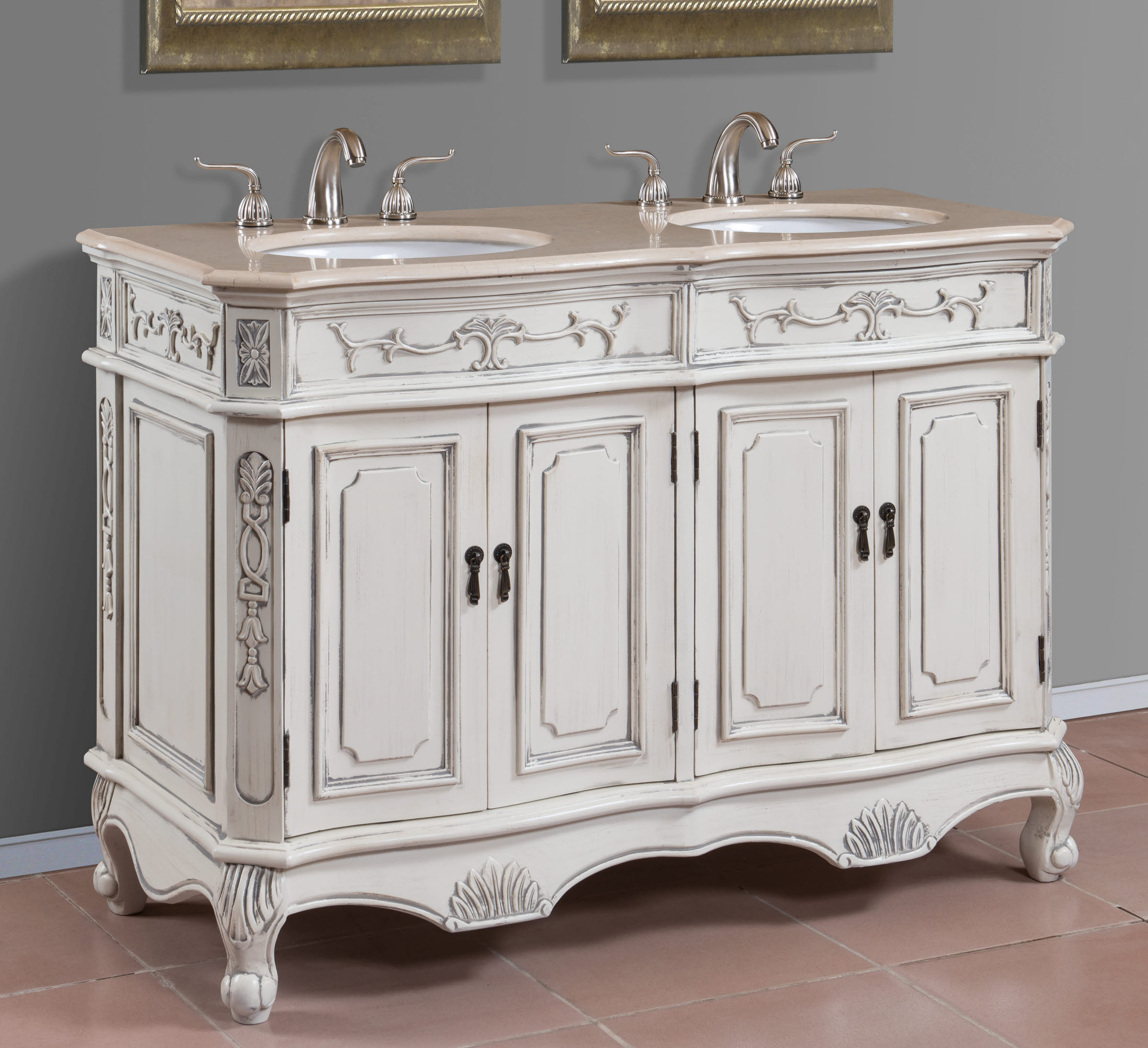 Two Sink Vanities 48 Inch Double Sink Bathroom Vanity Homesfeed