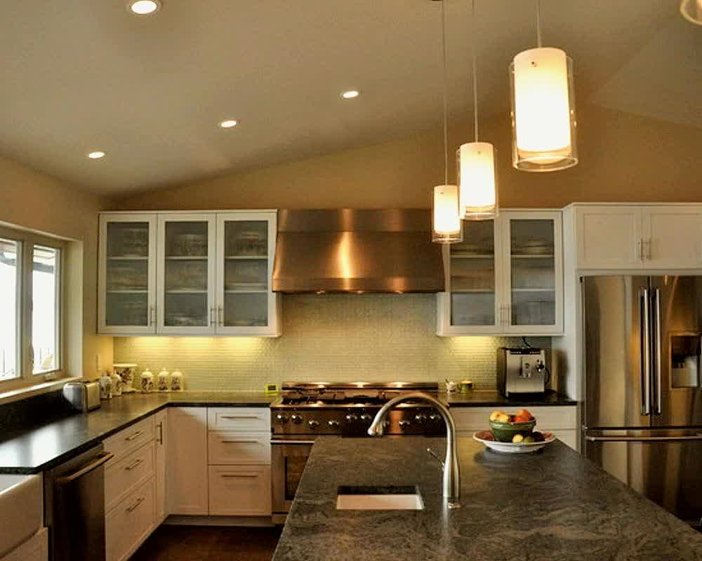 Modern pendant lighting fixtures small sink and faucet light black kitchen island L shaped kitchen set with black kitchen countertop white base cabinets white upper cabinets with glass door