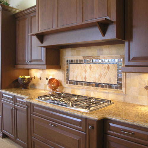 Cutting Countertop For Stove : ... cut patterns gas stove marble kitchen countertop darker brown kitchen