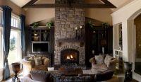 Family Living Room Stone Fireplace Ideas | HomesFeed