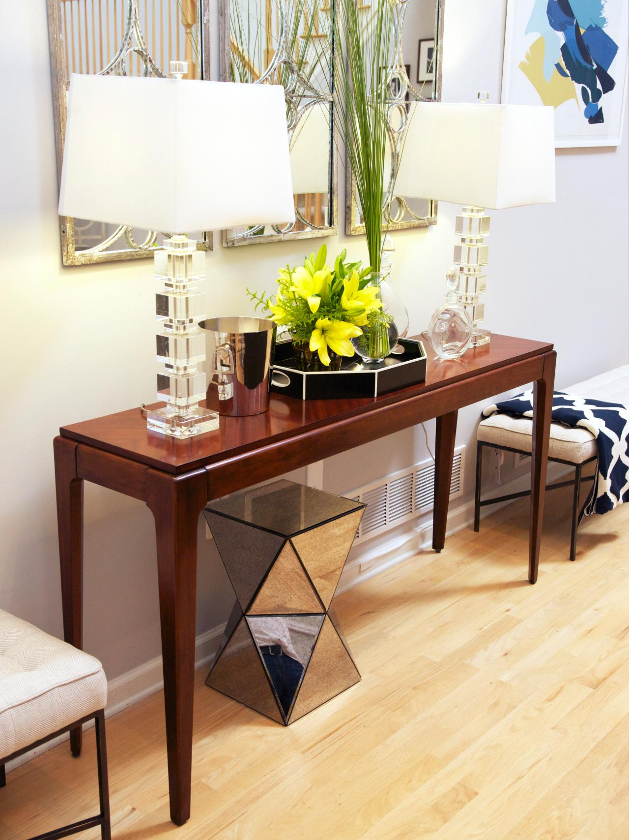 Long Narrow Wall Table Between Wood And Glass Long Console Tables Homesfeed