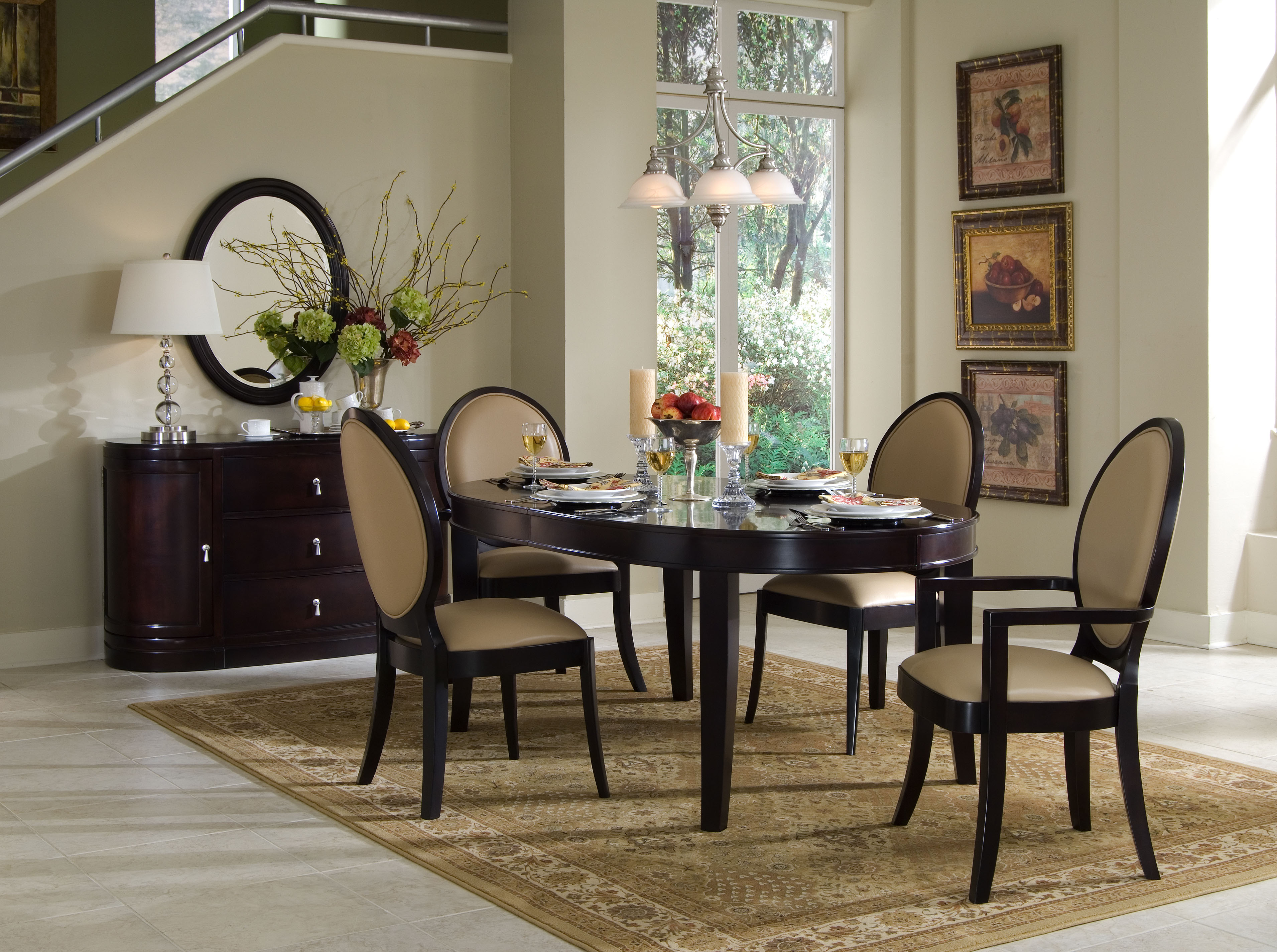 simple brown wooden small oval dining with padded wooden chairs soft beige carpet simple modern dining room white table lamp wall paintings decorative flower and fruit