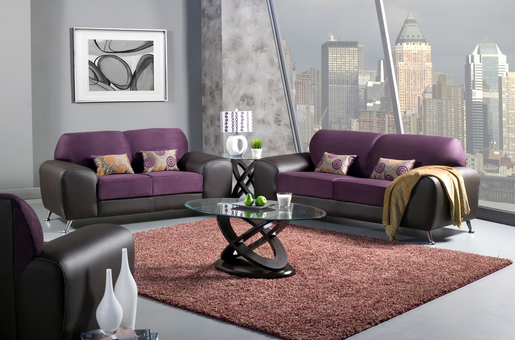 Black White And Purple Living Room Black Sofa And Loveseat Black White Couch Set Patterned