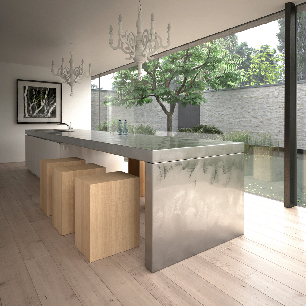 Kitchen Island Table Modern - Modern large sized metal kitchen island table combination with sink plus faucet and unfinished wooden blocks
