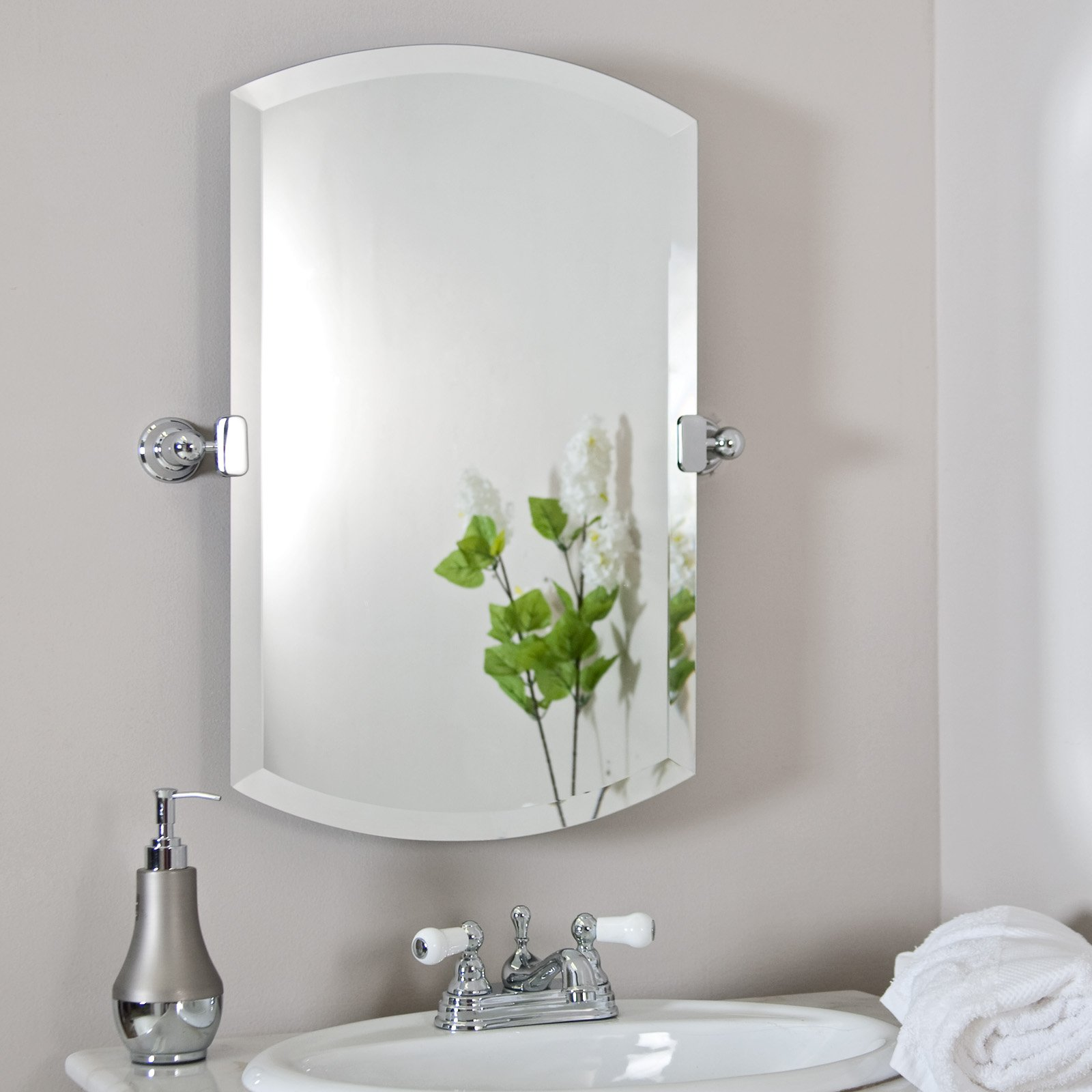 Decorative Brushed Nickel Mirror Brushed Nickel Bathroom Mirror As Sweet Wall Decoration