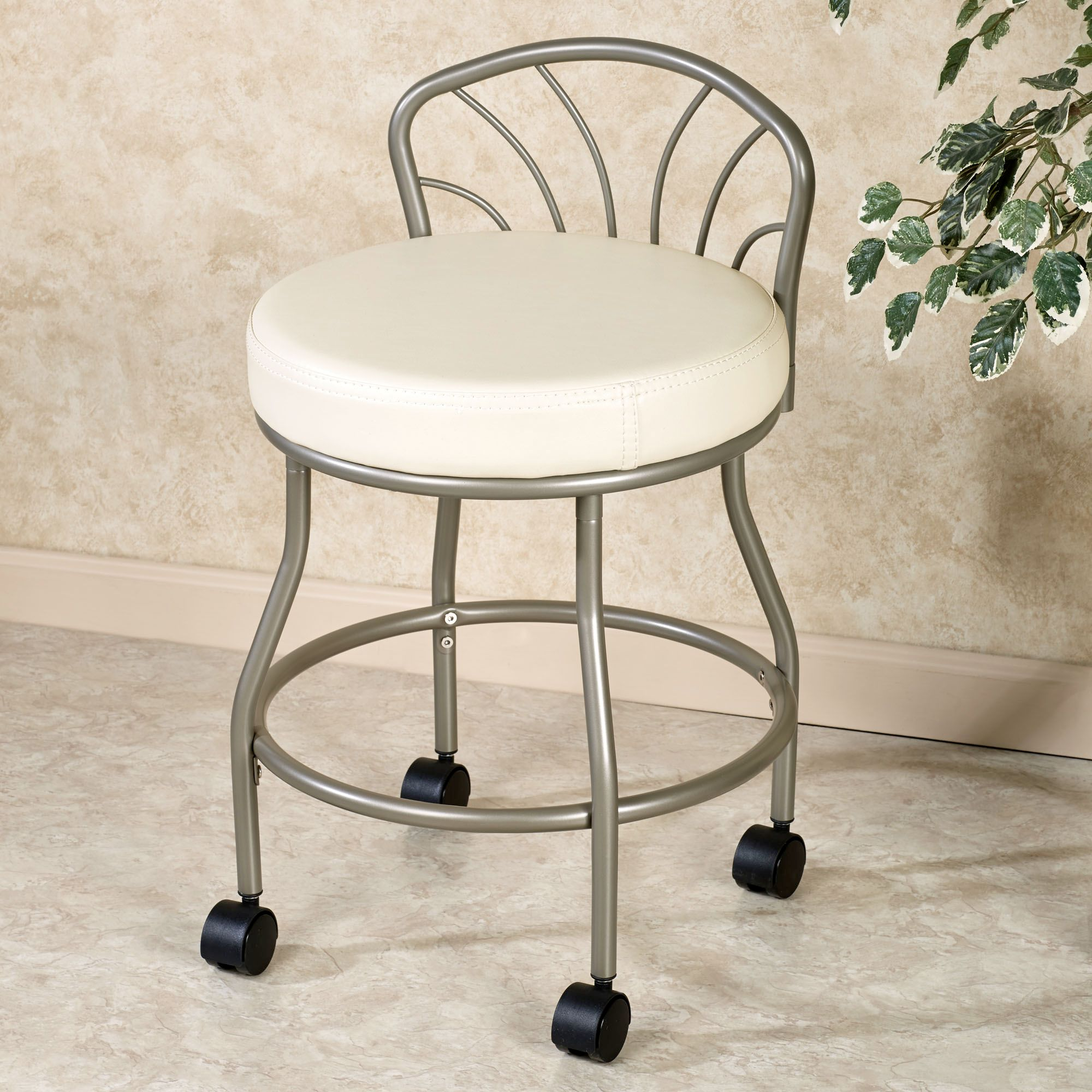 Bathroom Stool With Wheels Rolling Vanity Stool Homesfeed