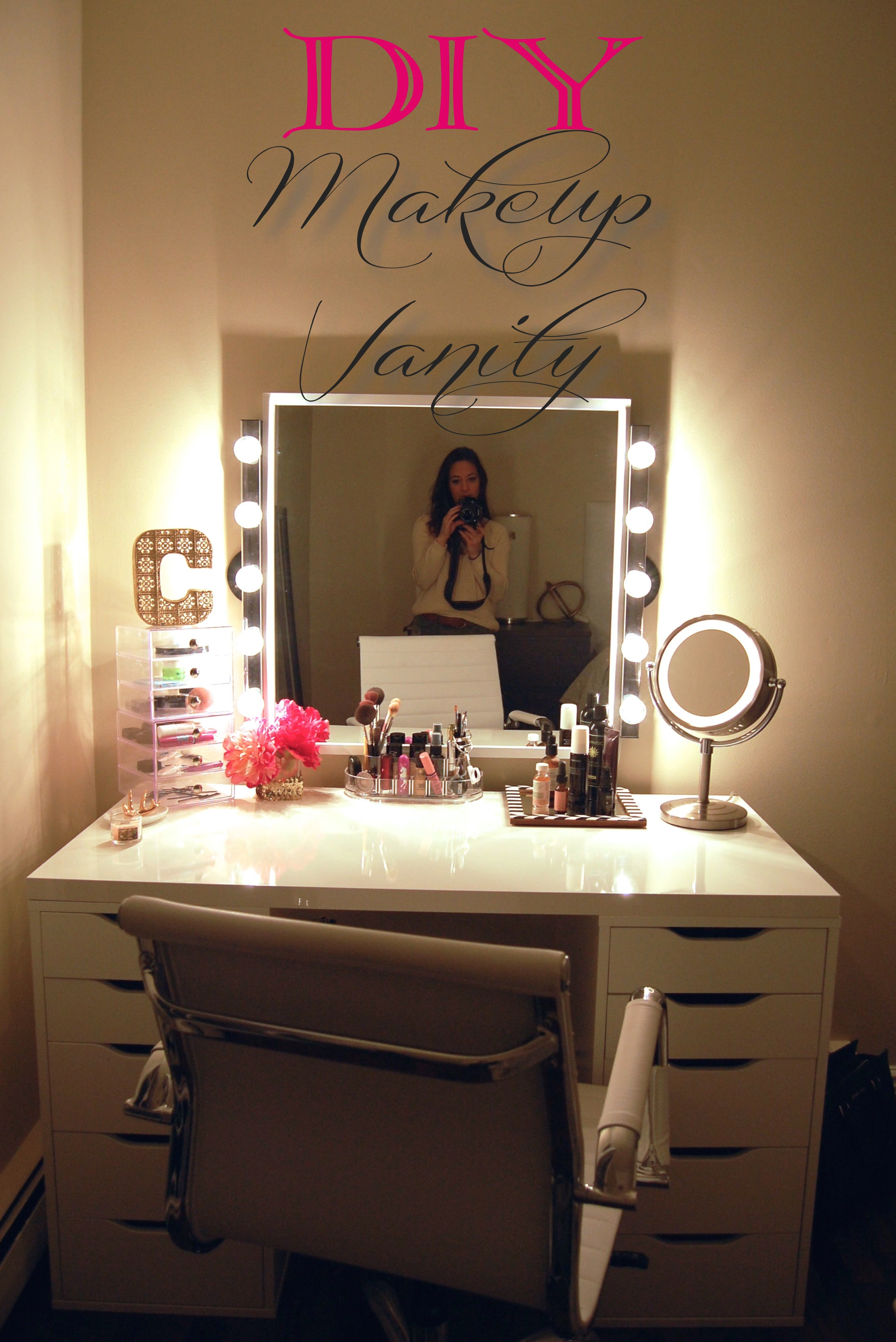 White Vanity Table And Chair Makeup Vanity Table With Lights Homesfeed