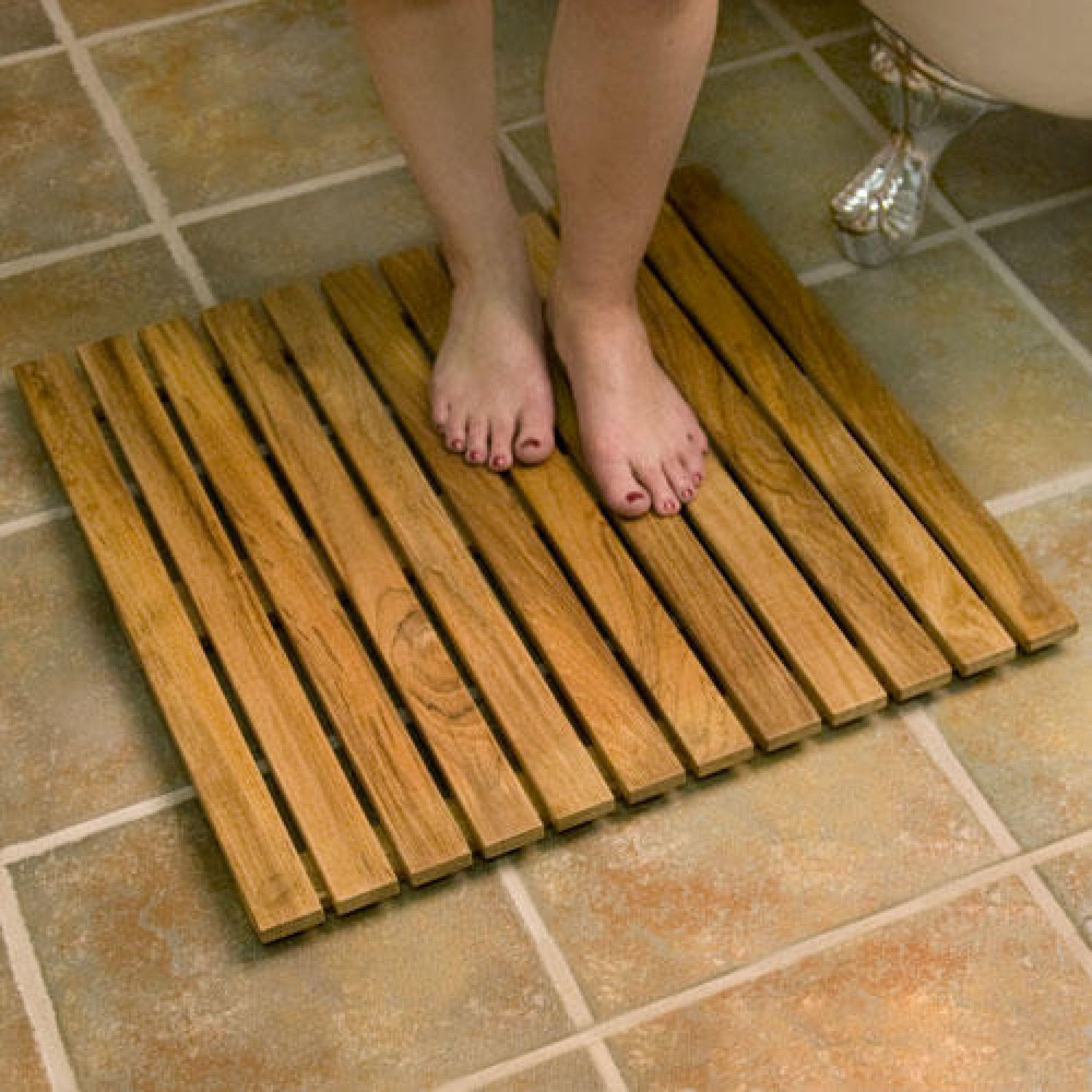 Shower Mat Wood Shower Mat Give A Little Natural Accent To Your