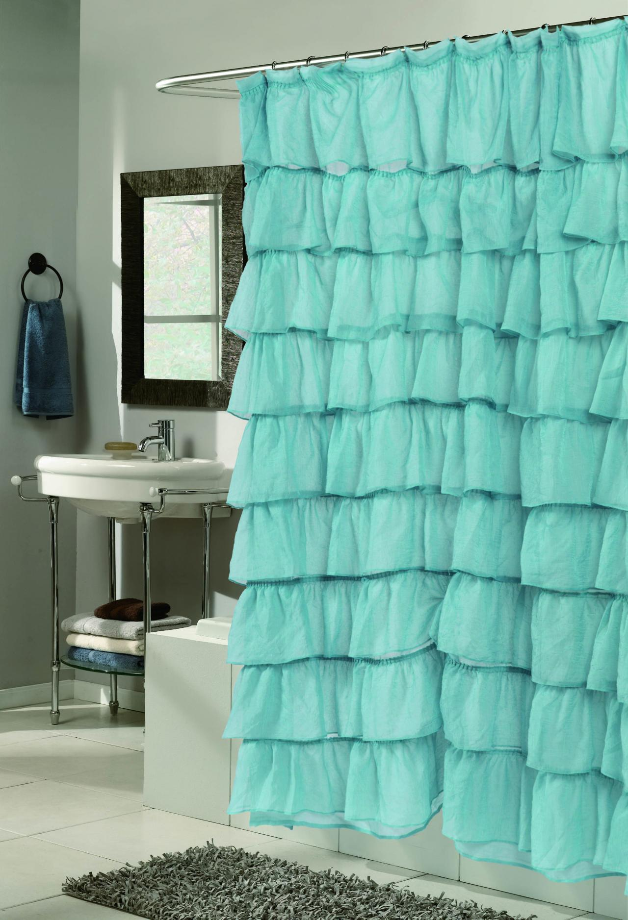 Solid teal shower curtain - Download