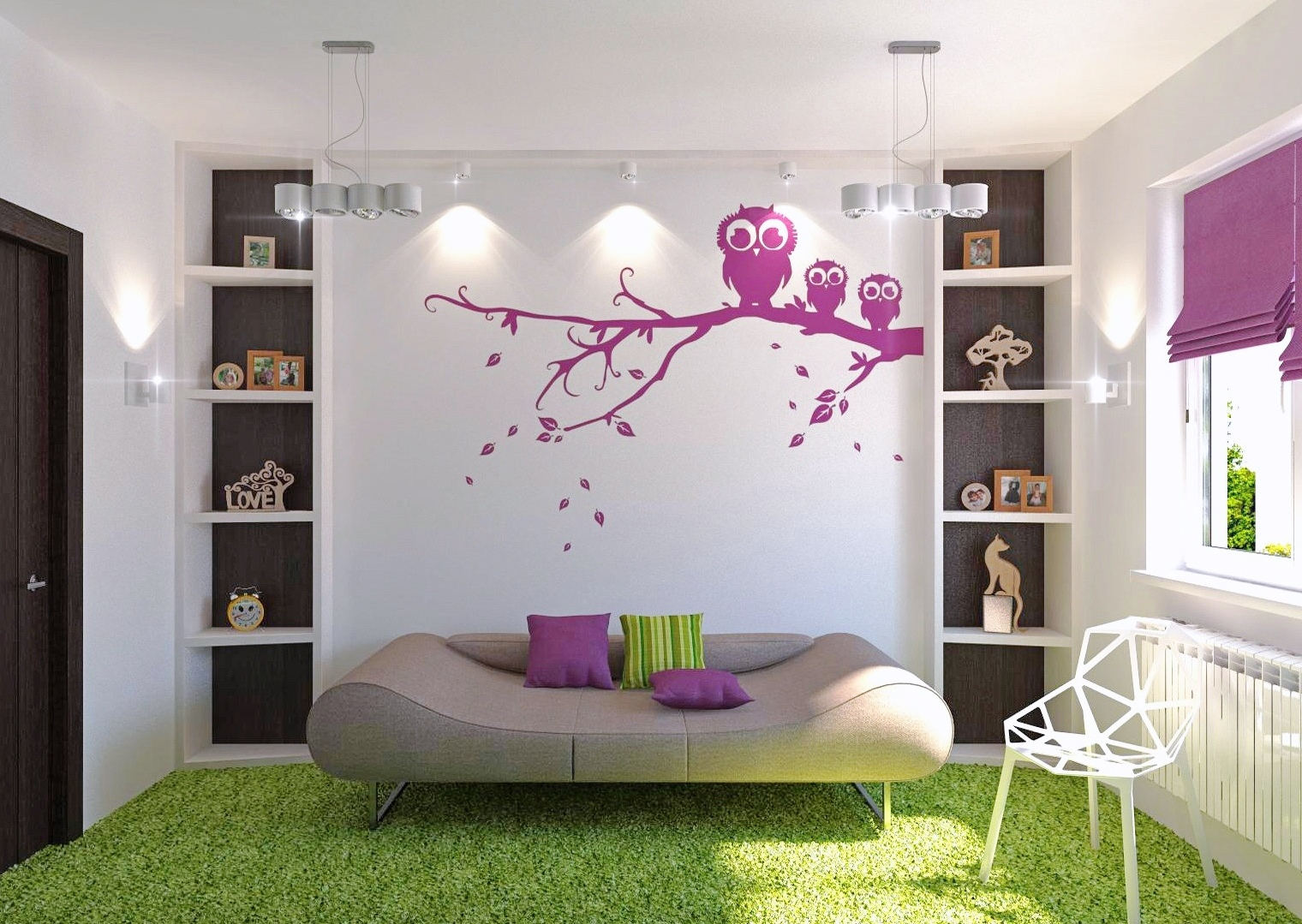 Bedroom ideas for young adults with owl wallpaper theme and colorful furniture