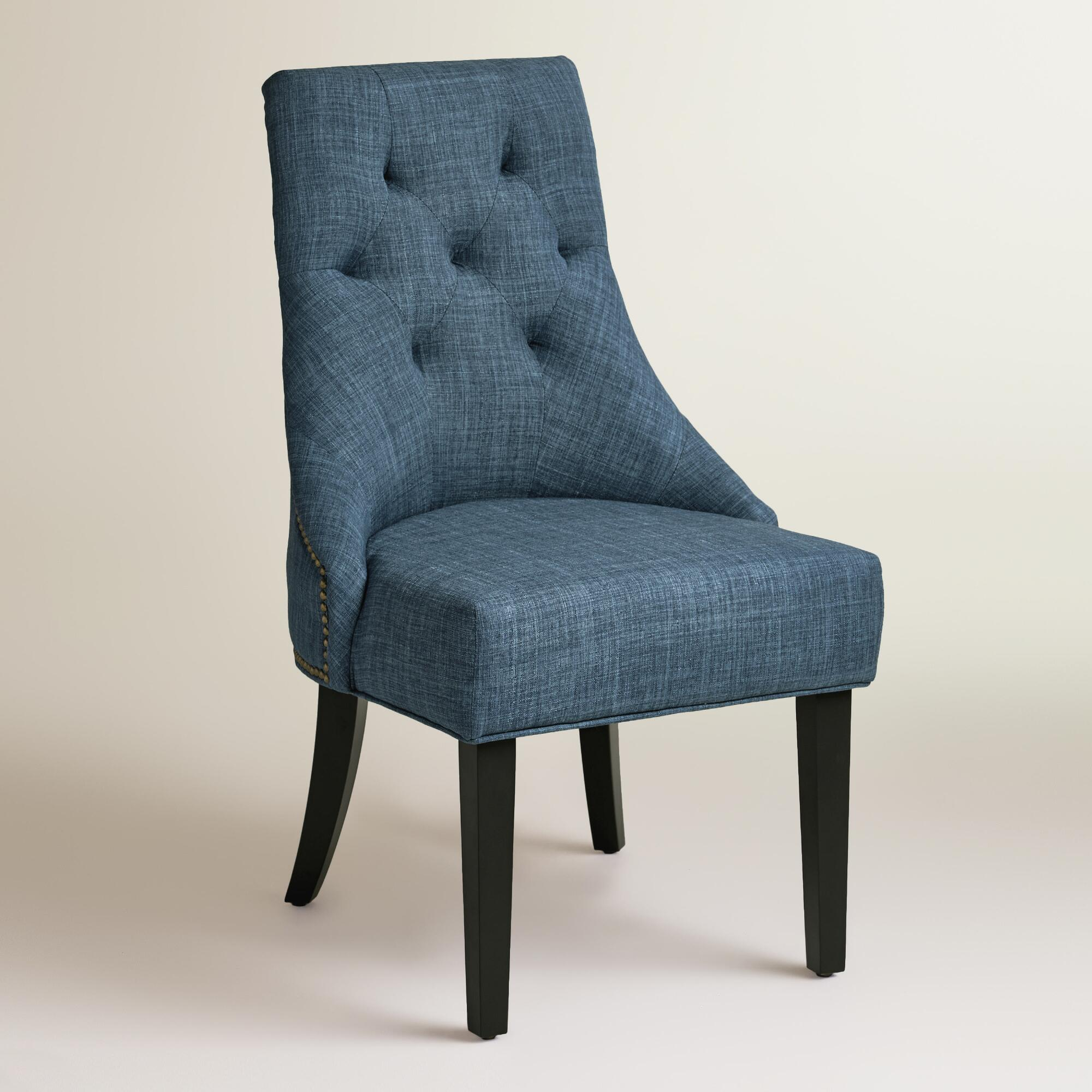 Stylish Chairs Blue Upholstered Dining Chairs Homesfeed