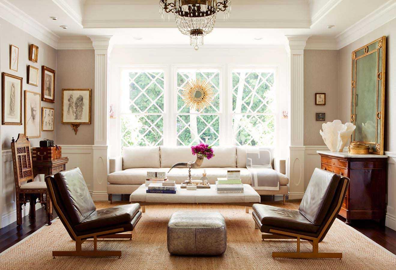 Elegant white living room furniture arrangement
