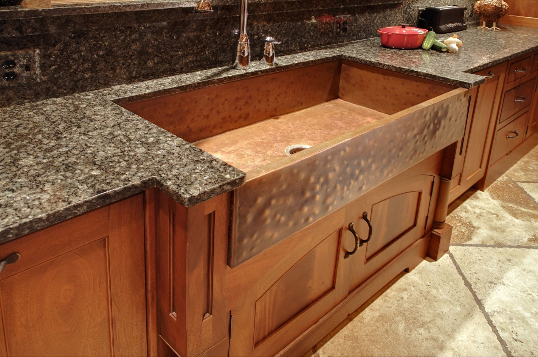Copper farm sink and stainless steel water faucet for kitchen dark granite countertop wooden base kitchen cabinet system