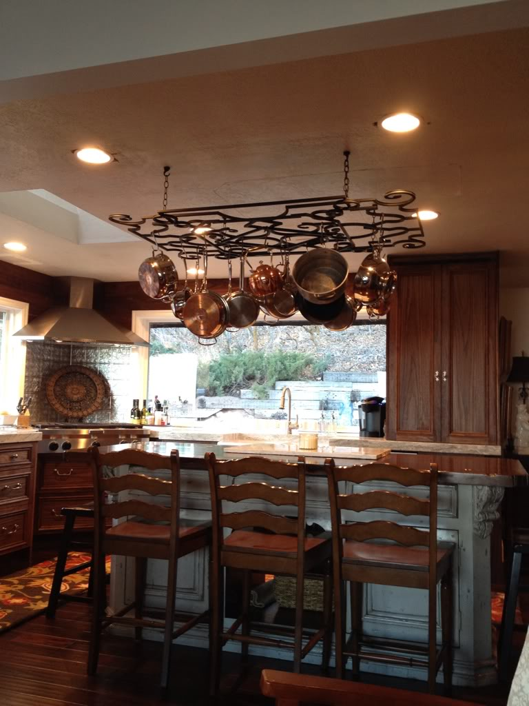 Kitchen pot racks with lights -  Pot Rack With Lights With Three Stools And Kitchen Download