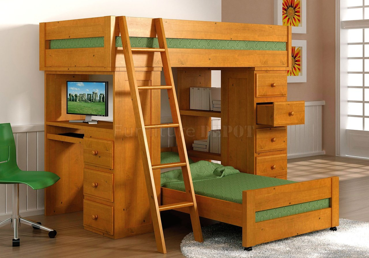 Double Bunk Bed With Desk Bunk Beds With Desks Homesfeed