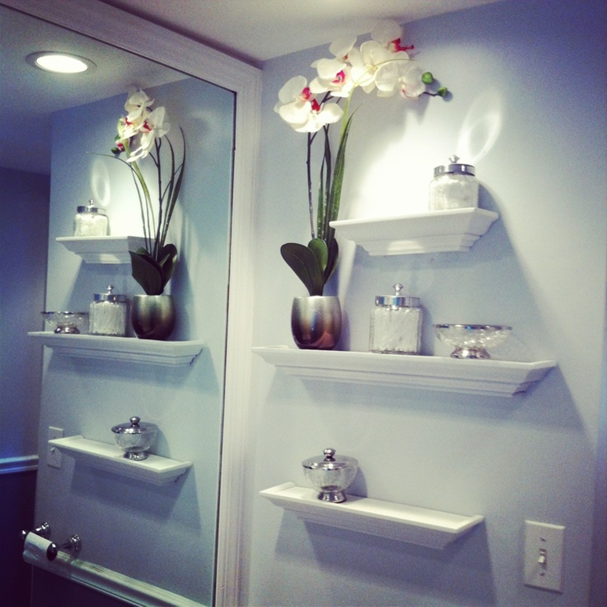 Astonishing Orchid Bathroom Wall Shelving Idea To Adorn Your Room Homesfeed Large Wall Mirror Med Bathroomshelves Bathroom Idea bathroom Bathroom In Wall Shelves