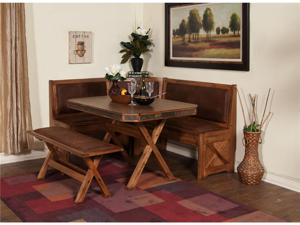 Rustic wooden dining room benches with backs at room corner