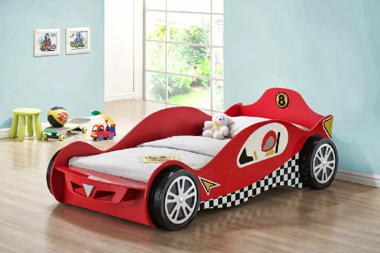 Red race car beds for toddlers with white mattress
