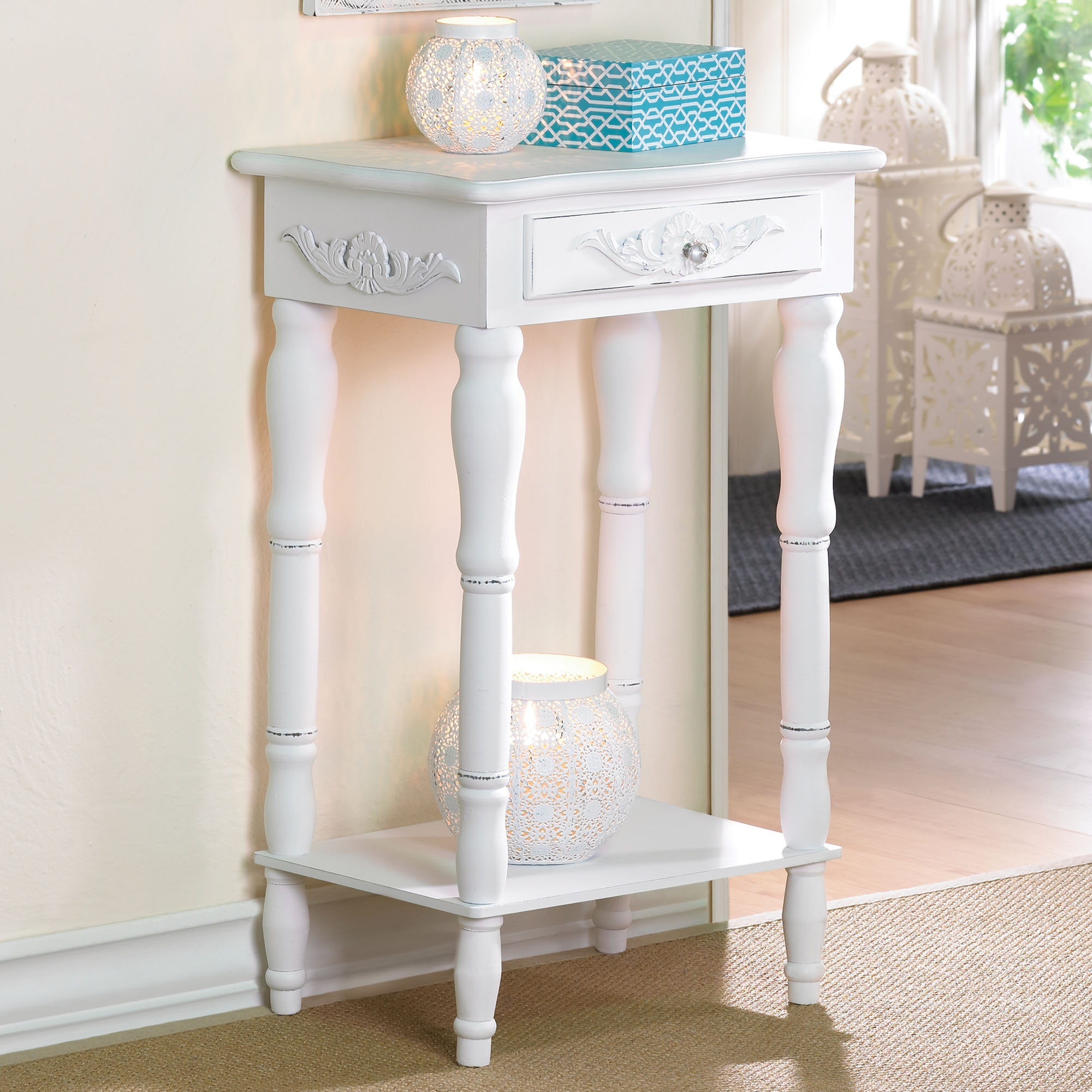 Tall White End Table Tall Accent Table A Stylish Item For Utilizing The Empty