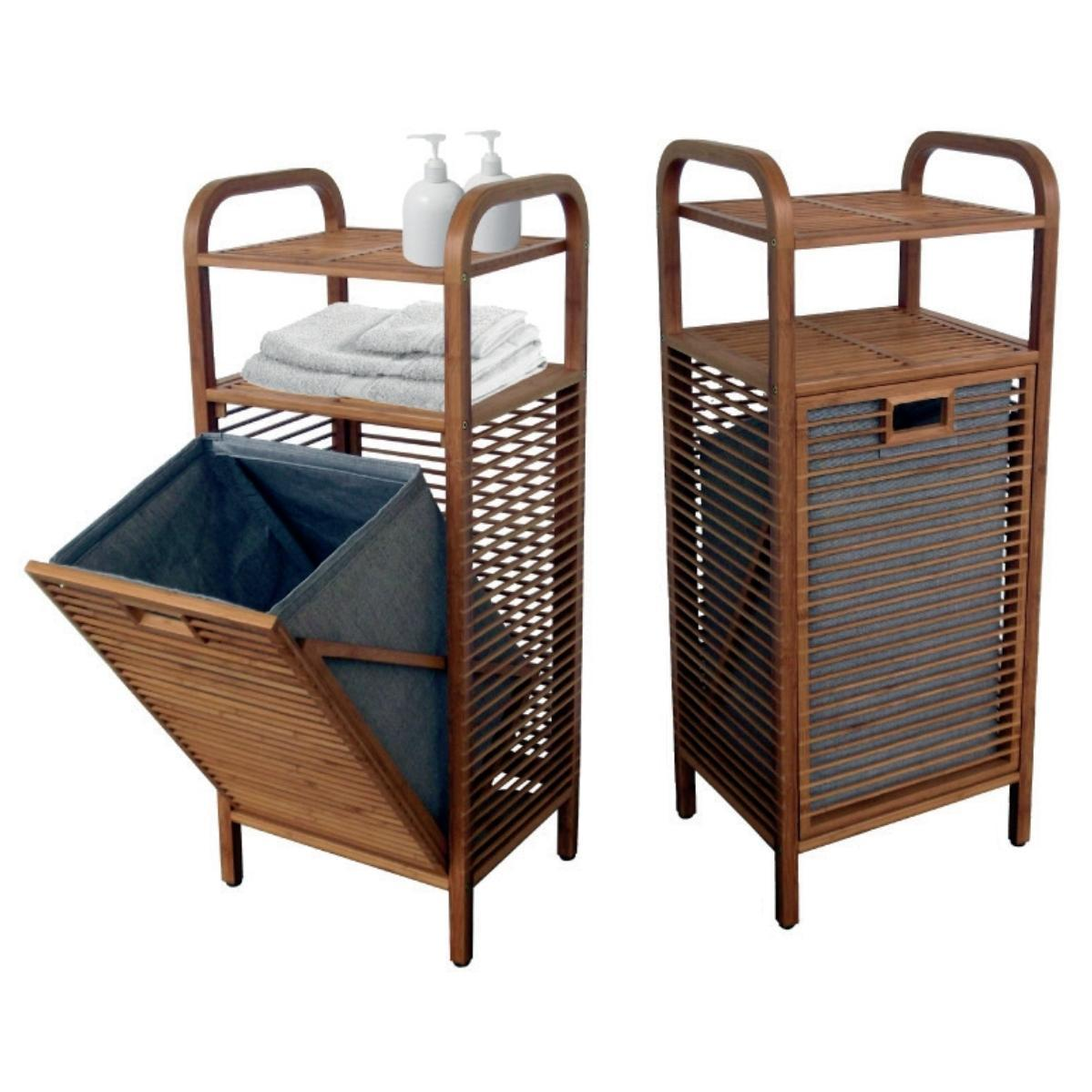 Laundry Basket With Shelves Laundry Basket With 2 Shelves With Bamboo Body 40Χ95Χ30 Cm