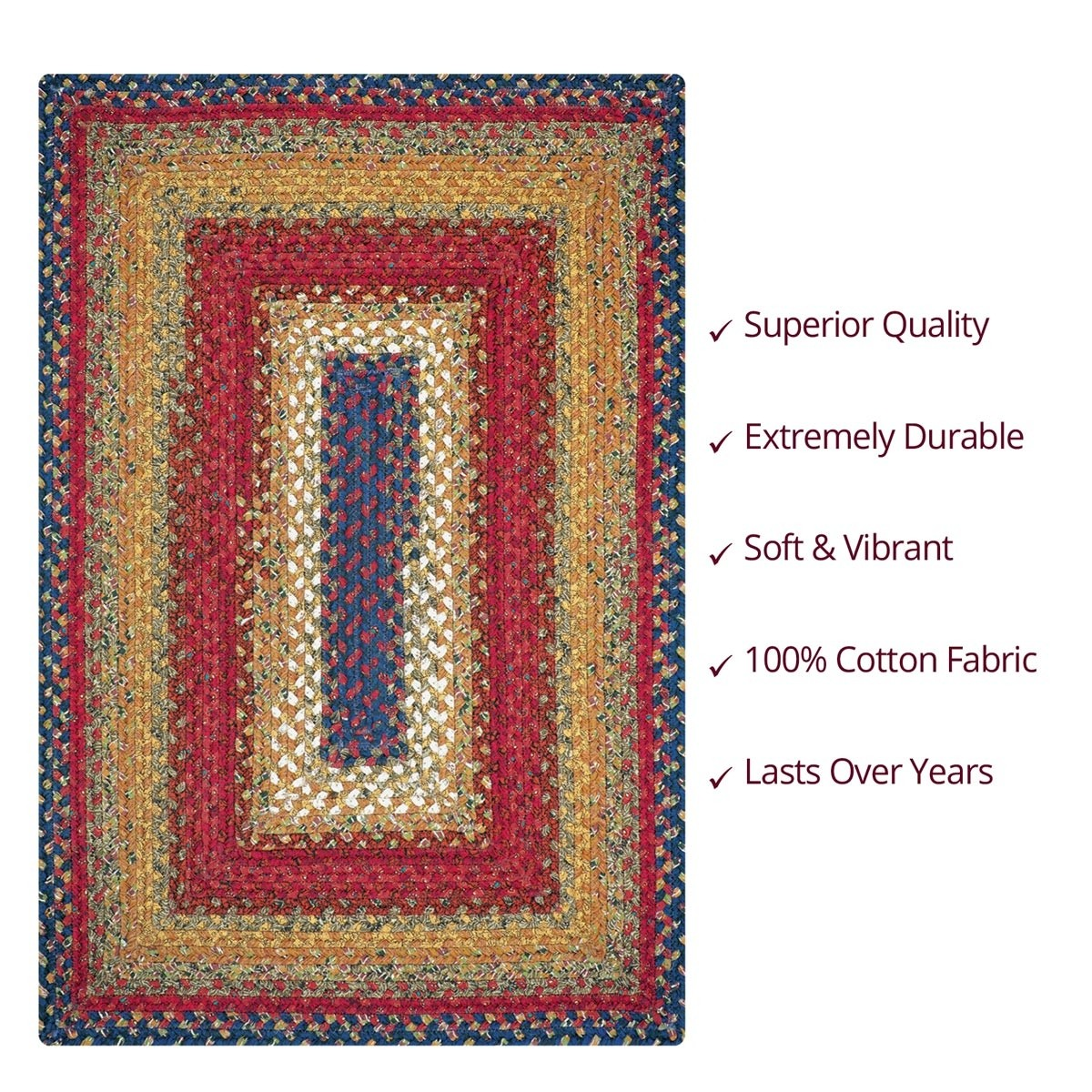 Durable Kitchen Table Top Buy Log Cabin Step Multi Color Cotton Braided Rugs Online