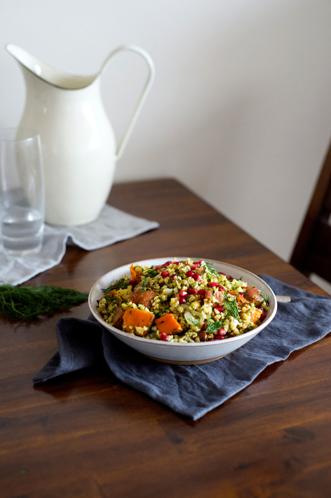 Spiced Sweet Potato and Freekeh Salad with Pomegranate | A festive salad that's vegan and potluck friendly.