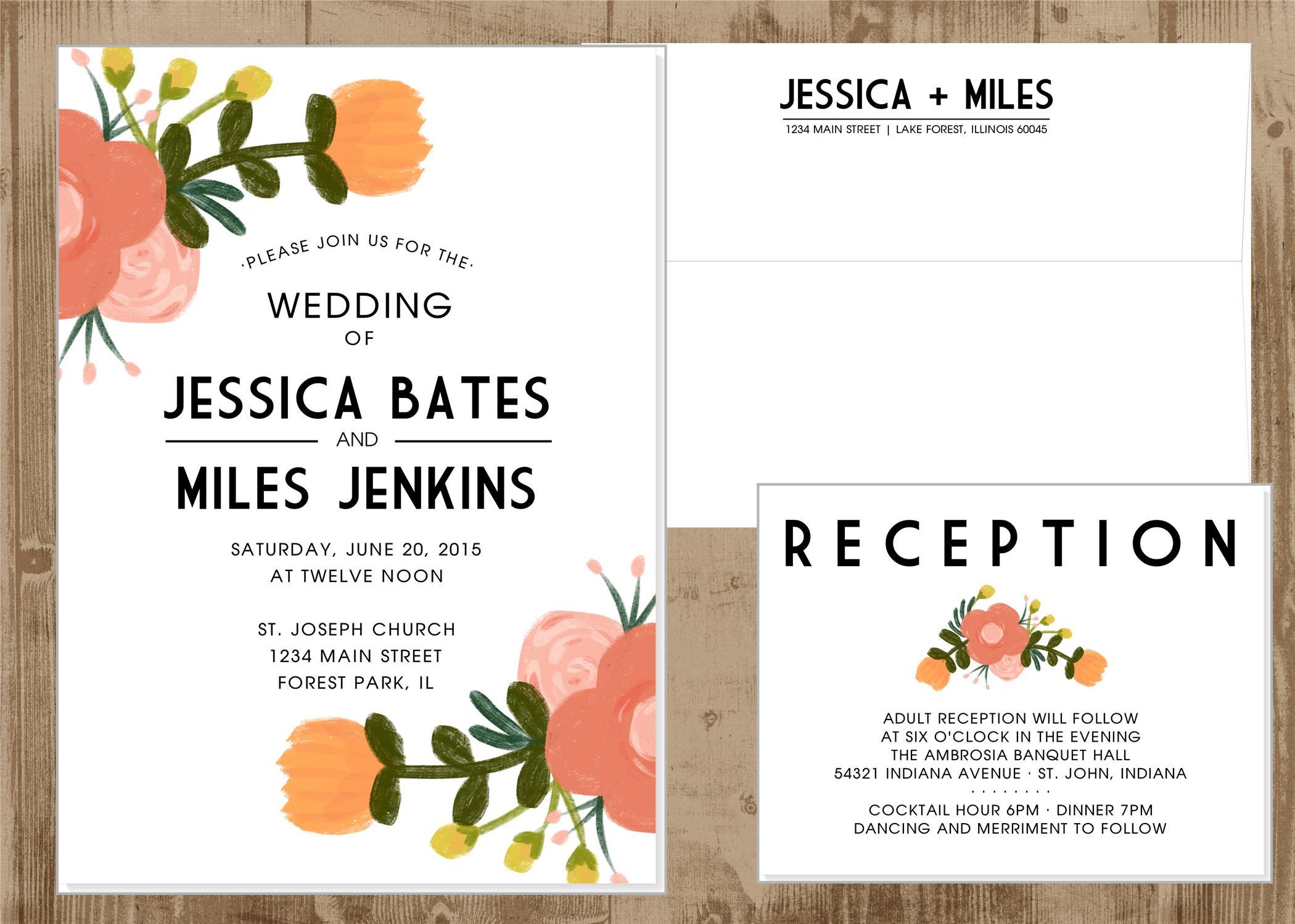 Printable Wedding Invitation Suite In Orange And Pink