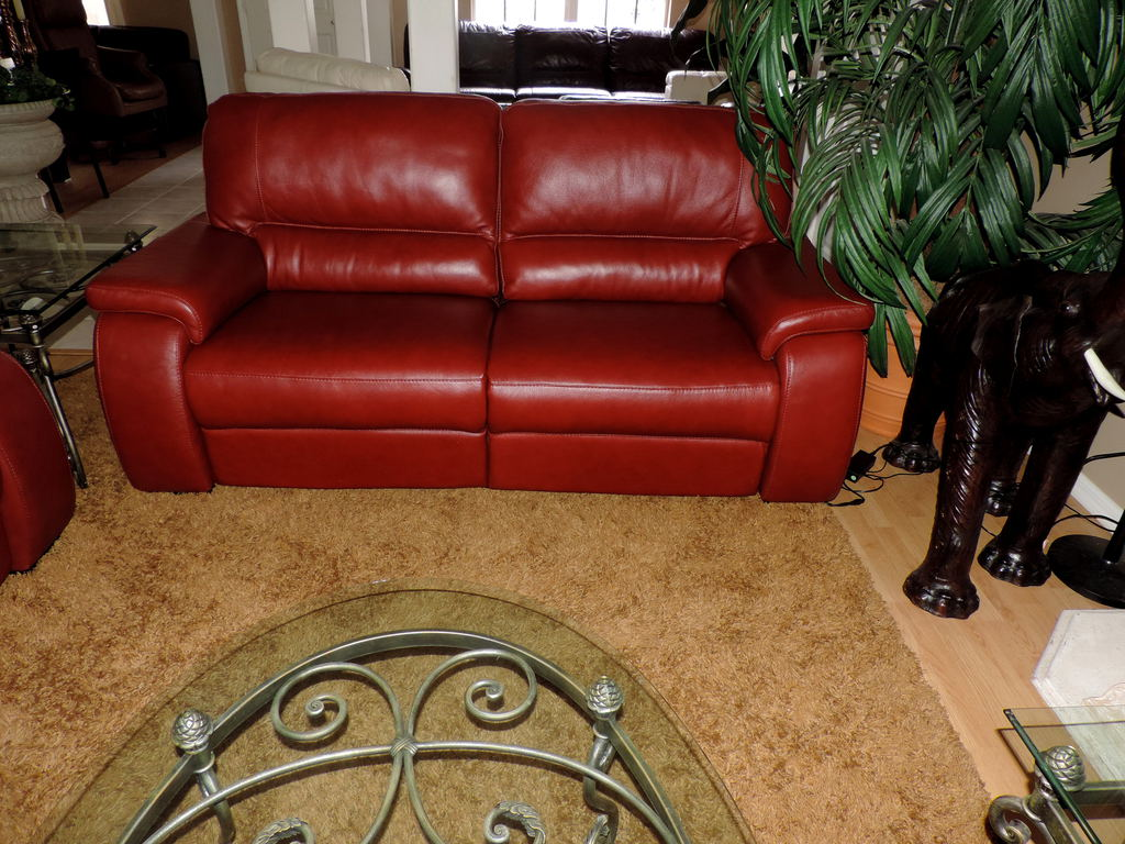 Macy S Marchella Pomegranate Leather Dual Power Reclining Sofa
