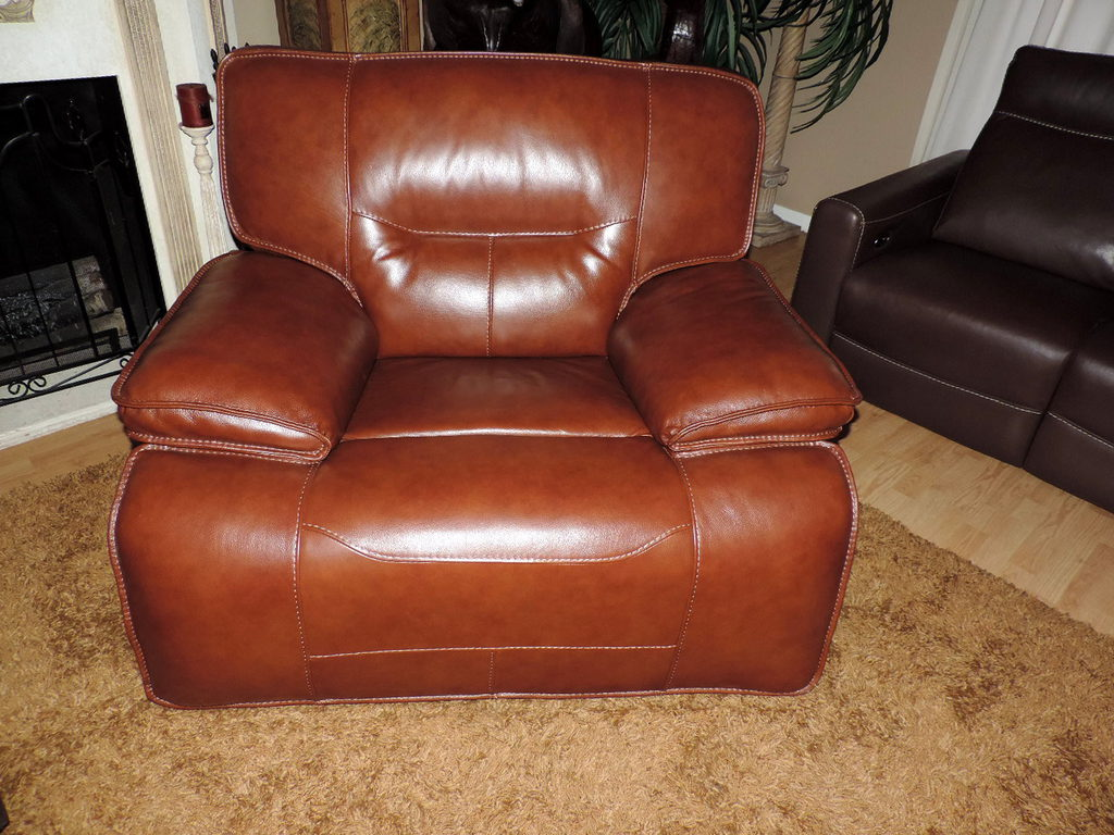 Macy S Beckett Cognac Leather Power Rocker Reclining Chair