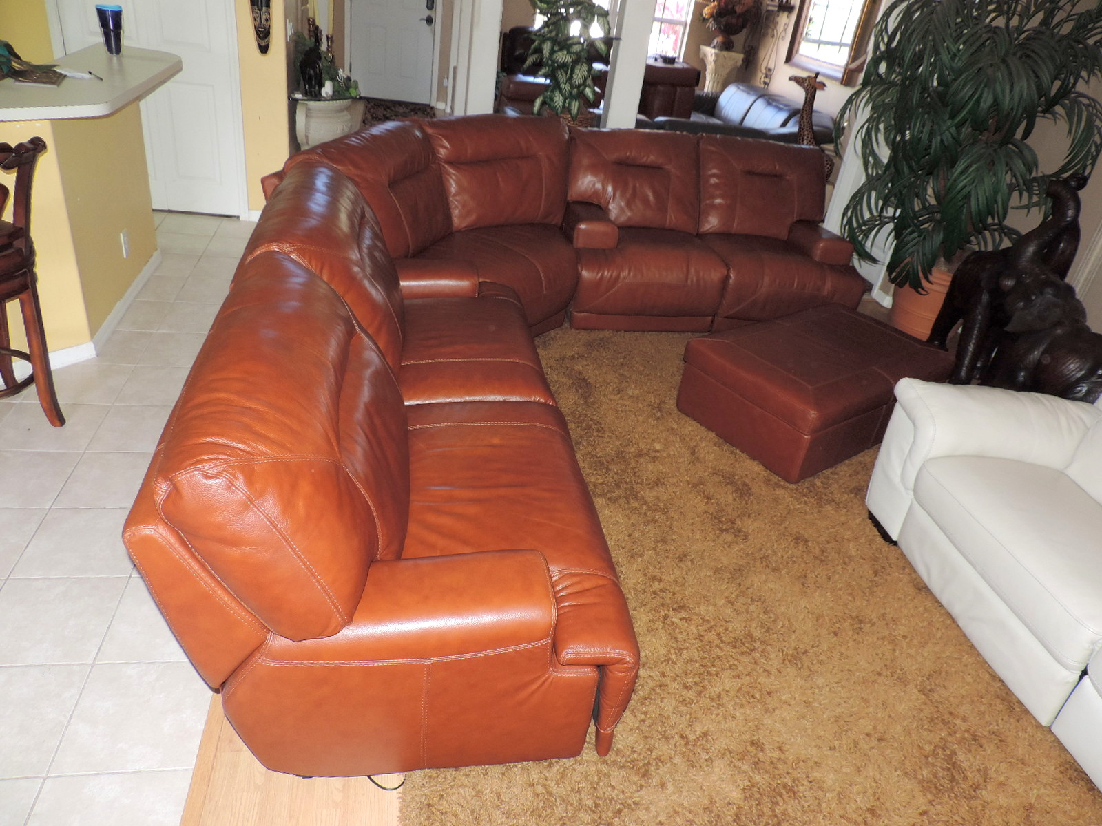 Macy S Ricardo Cognac Leather Power Reclining Sectional