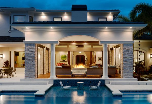 Backyard landscaping design ideas swimming pool fireplaces for Pool show near me