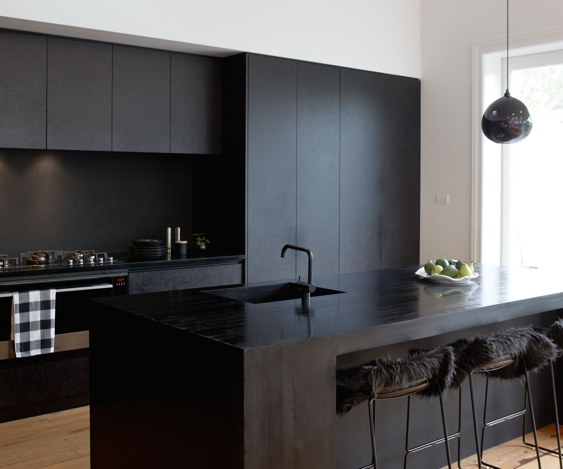 Matte Kitchen Cabinets A Matte Black Kitchen Makes A Bold Statement In This