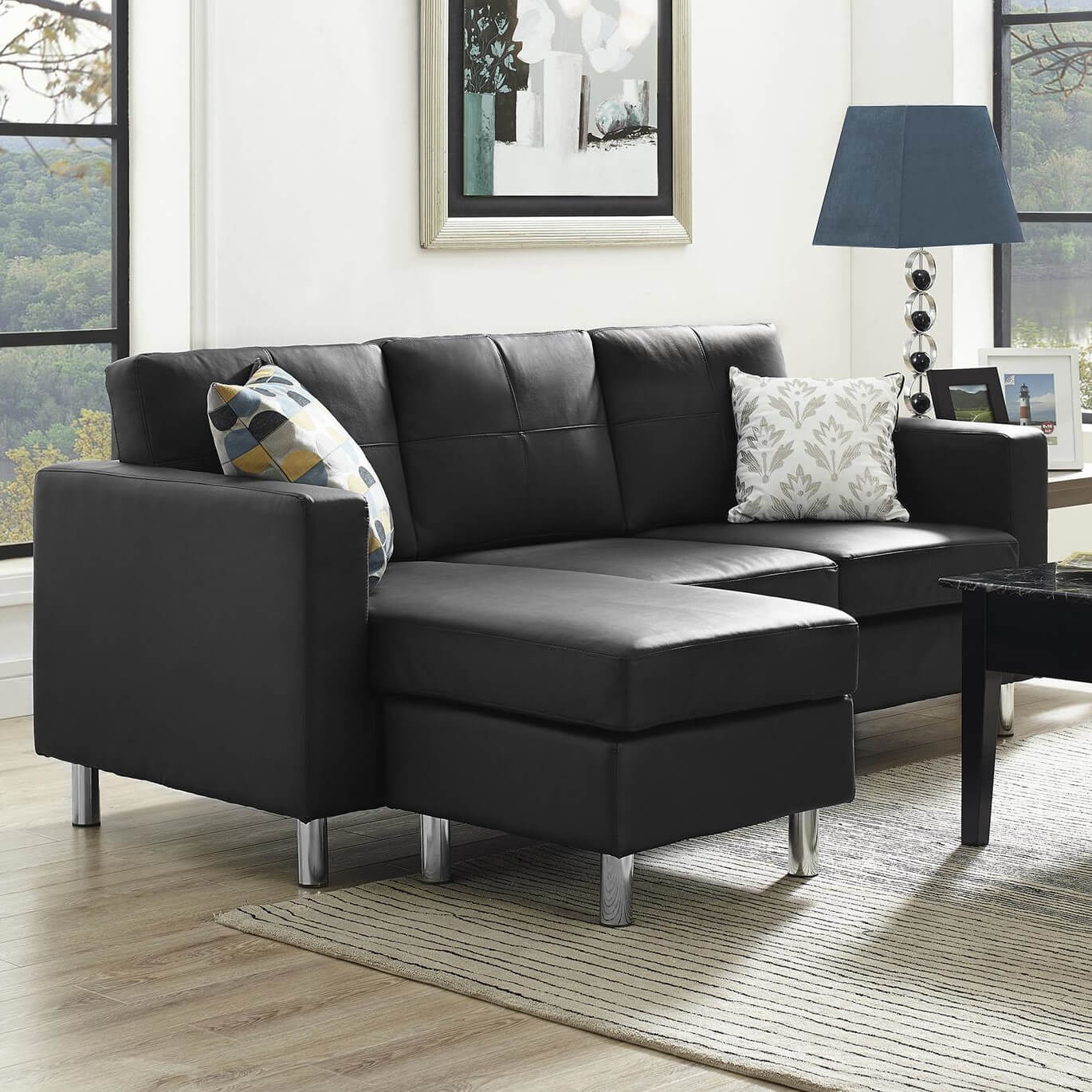 Office L Shape Couch With Ottoman For Apartment Black Leather Modern Bonded Leather Upholstered Sectional Sofa Couch With Reversible Chaise Lounge Living Room Home Kitchen Furniture