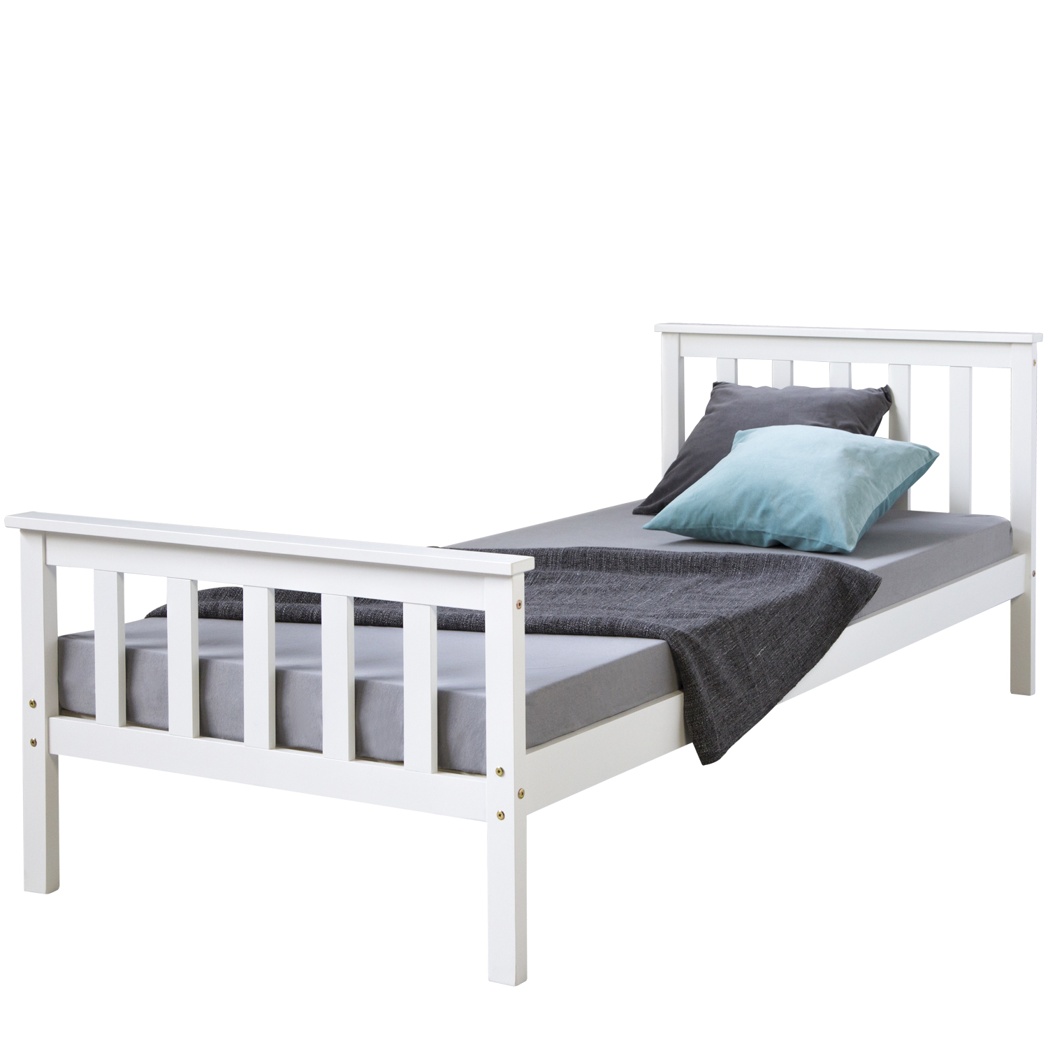 Tagesbett 140x200 3ft Single Bed Solid Pine Wooden Frame Bed Shaker Style Daybed White Guestbed